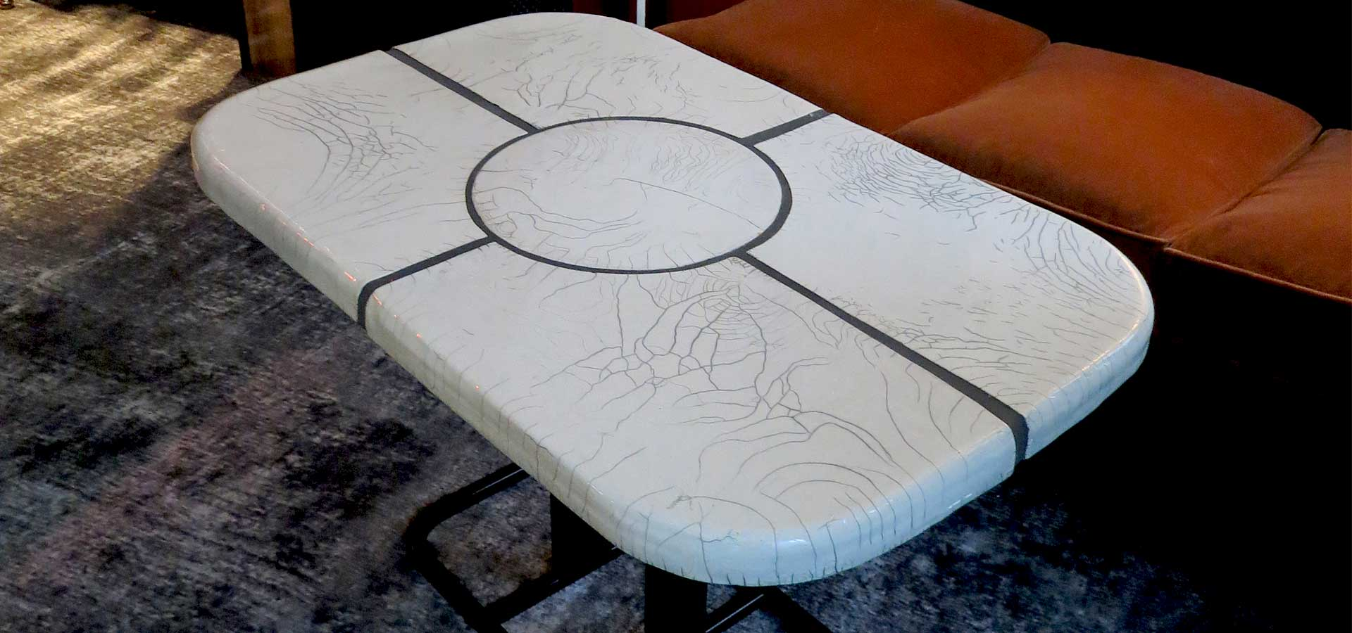 Table design, tiles and texture Raku Ceramics